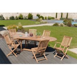 Lot composé d'une table ovale et de 4 Chaises et de 2 Fauteuils en teck.