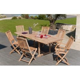 Lot composé d'une table rectangulaire et de 4 Chaises et 2 Fauteuils en teck.
