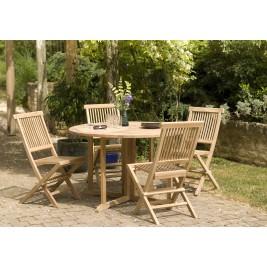 Lot composé d'une table et de 4 Chaises en teck